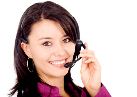 customer service help and support friendly girl isolated over a white background