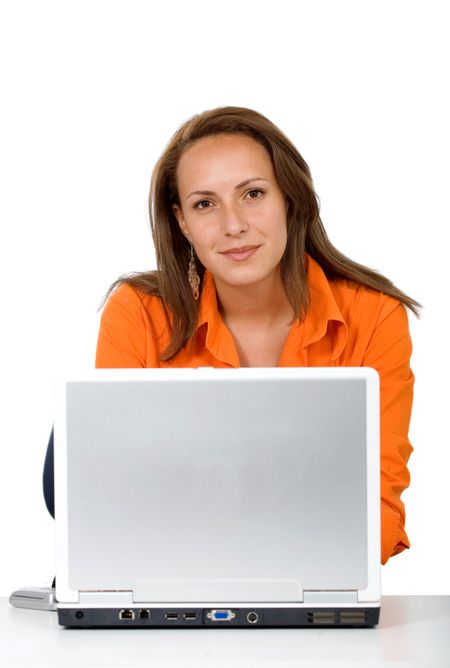 business woman on a laptop isolated over a white background