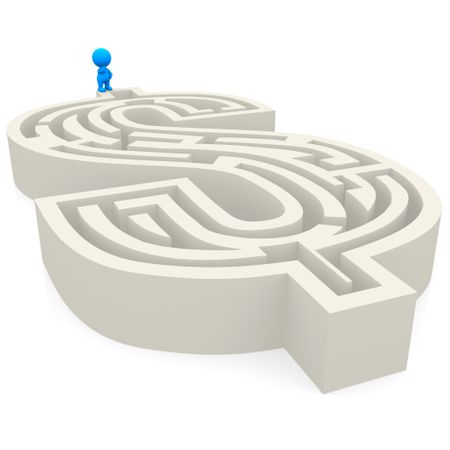 3D man in a dollar labyrinth isolated over a white background