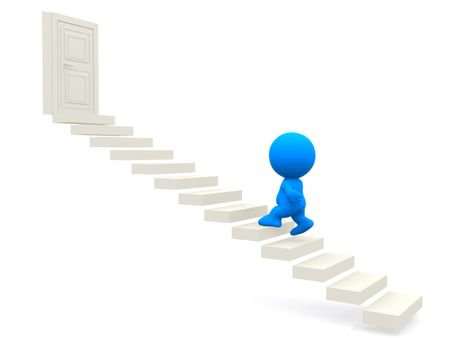 3D man going upstairs toward a closed door isolated over white