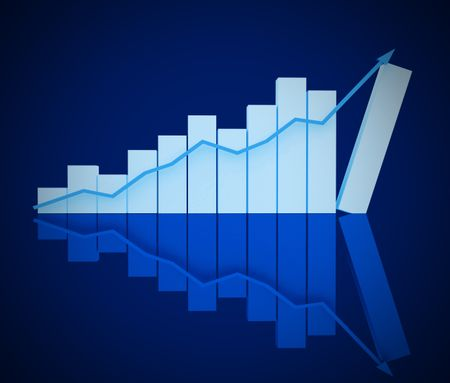 3d business chart isolated over a blue background