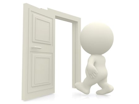 3D man walking through door isolated over white
