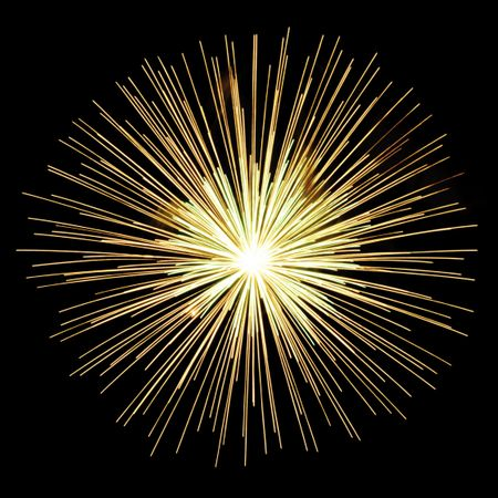 Burst of yellow-white fireworks on square background