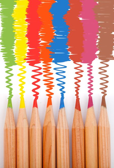Coloring with a set of color pencils over a white background