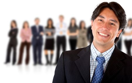 Happy business man leading a group- isolated over a white background