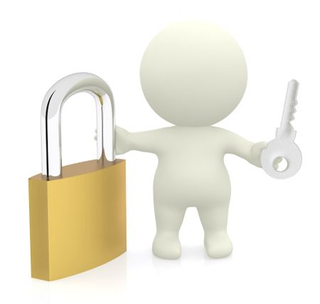 3D man holding a padlock and key - isolated over a white background
