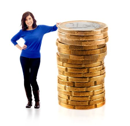 Woman leaning on a pile of euro coins - isolated over a white background