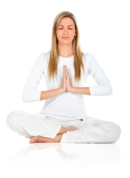 Healthy lifestyle woman practicing yoga - isolated white background