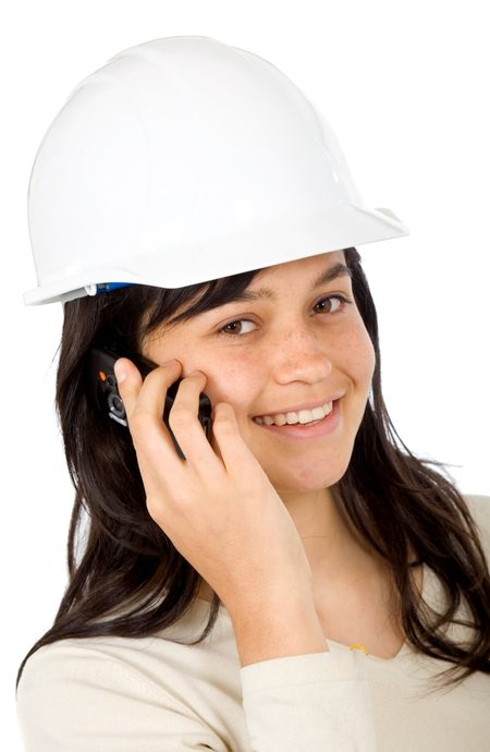 female architect on the phone isolated over a white background