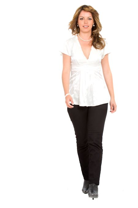 Business Woman Walking - isolated over a white background