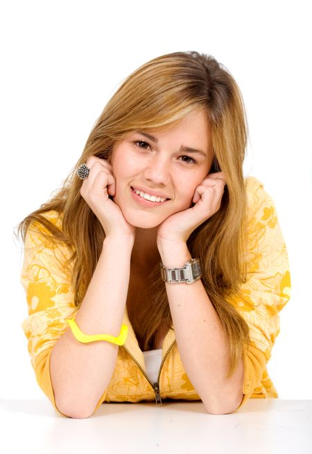 friendly female portrait smiling in yellow isolated over a white background