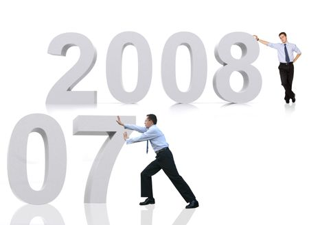 business man leaning on 2008 and another business man is pushing 2007 away - prospects for the new year