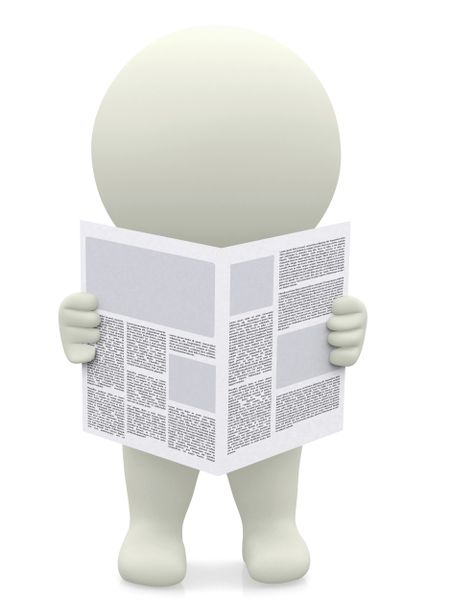 3D guy reading a newspaper - isolated over a white background