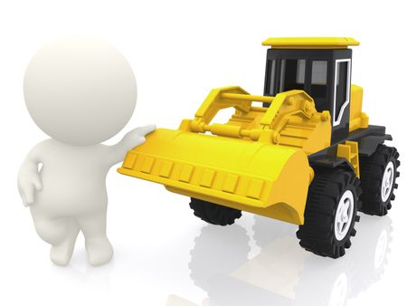 3D guy with a bulldozer - isolated over a white background