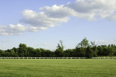 Racetrack infield with continuous white fence and line of trees on late summer afternoon at equestrian training center