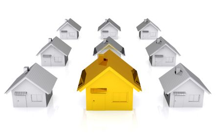 3D golden house standing out from silver ones - isolated over a white background