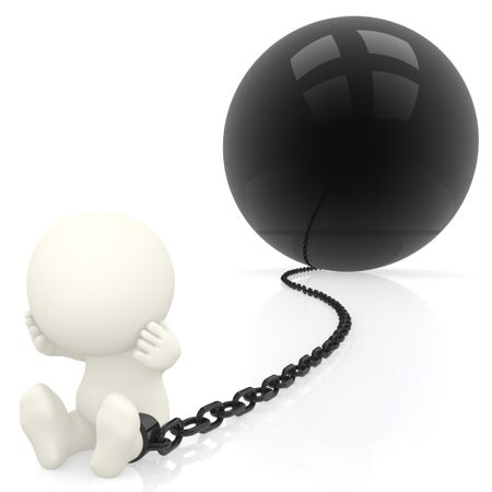 3D Prisoner with a chain ball - isolated over a white background