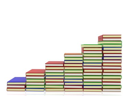 3D Pile of books  - isolated over a white background