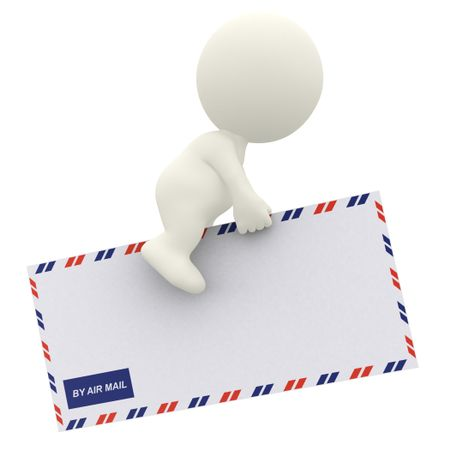 3D guy flying on an envelope - air mail concepts