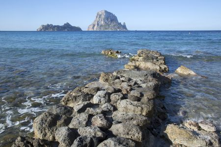 Hort Cove Beach and Vedra Island; Ibiza; Spain;