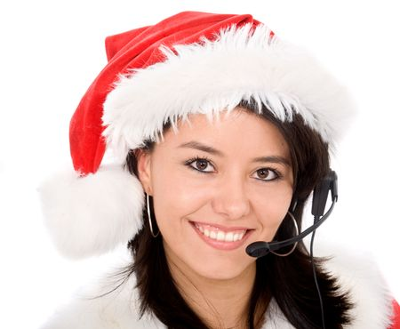 female santa portrait with a headset over a white background