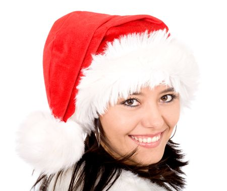 female santa portrait looking cute and smiling isolated over a white background
