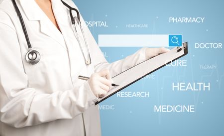 Female doctor holding notepad with blue background and search bar with hovering medical words