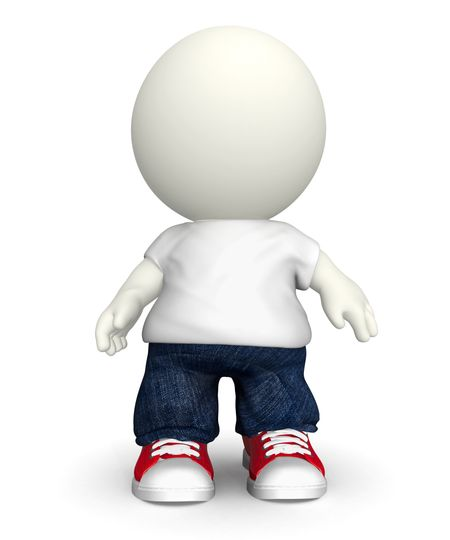 3D casual guy wearing baggy clothes - isolated over a white background