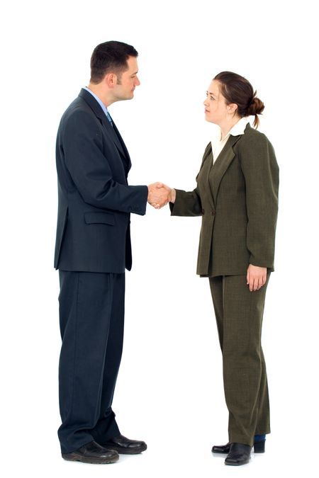 great business deal from a businessman and a businesswoman isolated over a white background
