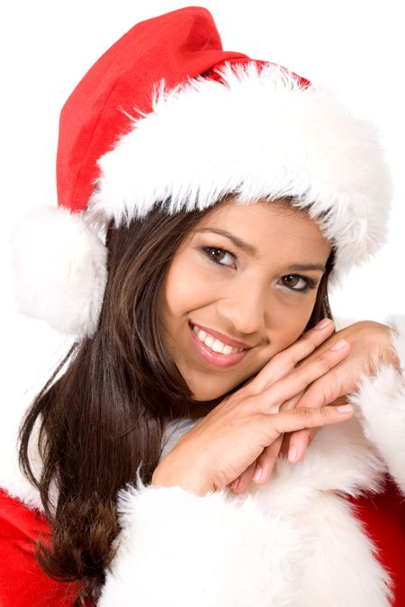 female santa claus looking cute and smiling in a portrait isolated over a white background