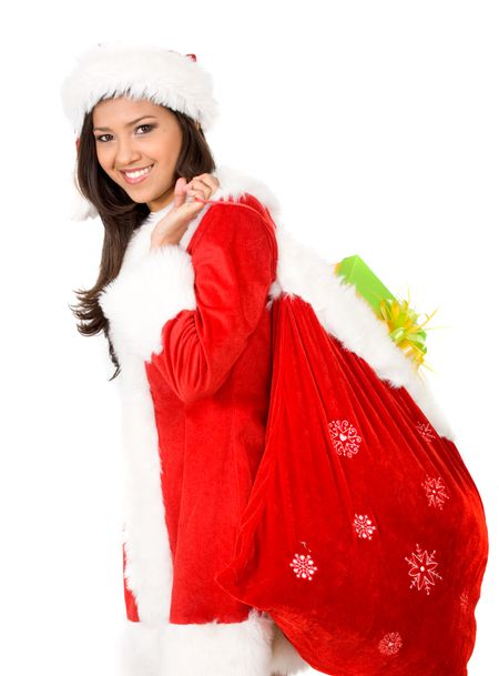 female santa claus portrait with a gift sack and smiling