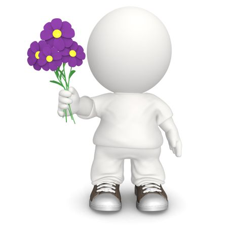 3D man giving a flowers - isolated over a white background