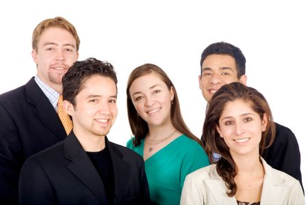 business team portrait all looking like very young entrepreneurs and leaders in the industry - isolated over a white background