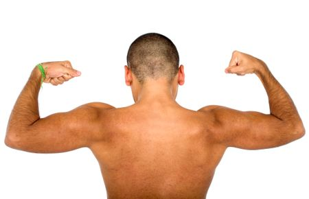 muscular male from the back isolated over a white background