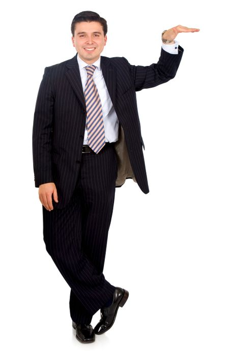 business man leaning on something he is displaying isolated over a white background