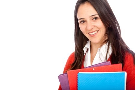 Female student smiling with notebooks - isolated over a white background