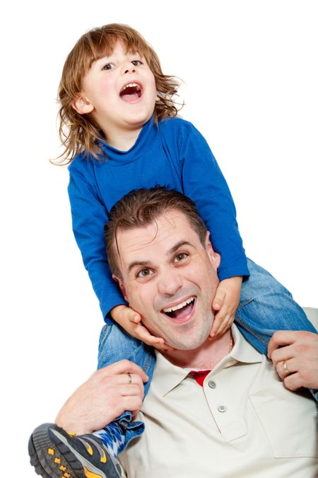 Father and son smiling - isolated over a white background
