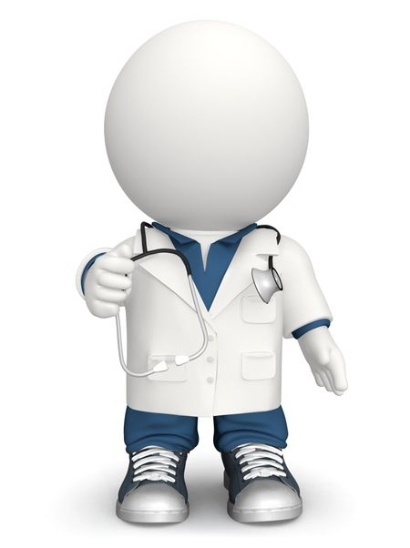 3D doctor with a stethoscope - isolated over a white background