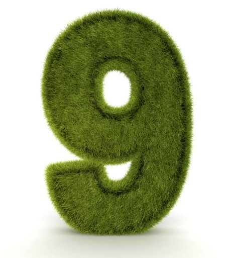Number nine in 3D and grass texture - isolated over white
