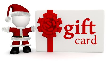 3D Santa with a gift card for Christmass  ? isolated over white