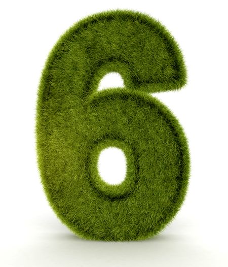 Number six in 3D and grass texture - isolated over white