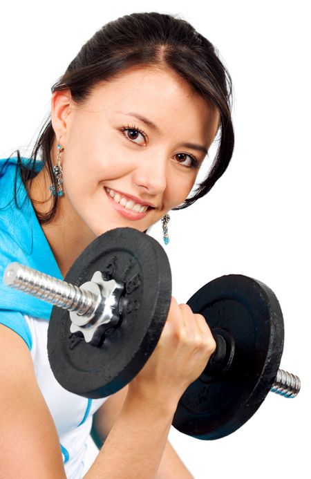 fit girl lifting free weights isolated over a white background