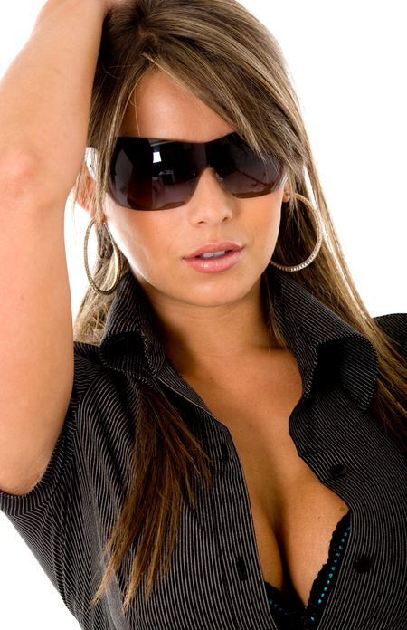 beautiful fashion woman wearing sunglasses over a white background