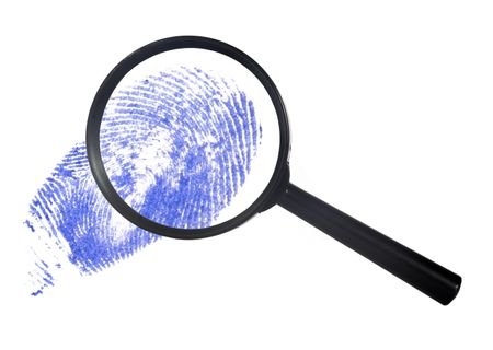 magnifying glass over a blue digital print