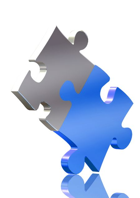 couple of puzzle pieces over a white background