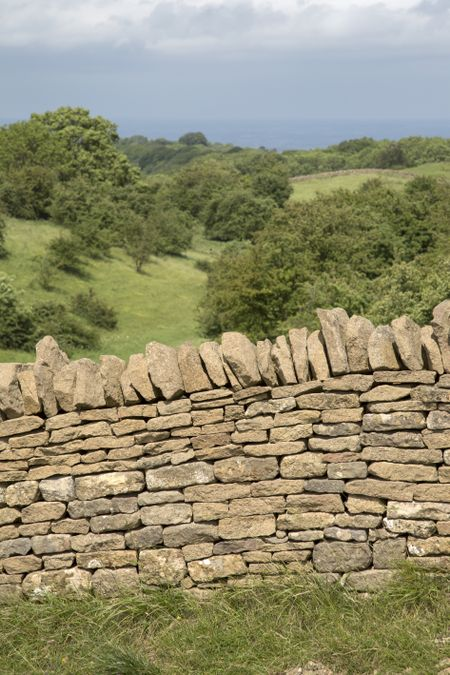 Countryside and Stone Wall, Broadway; Worcestershire; England; UK