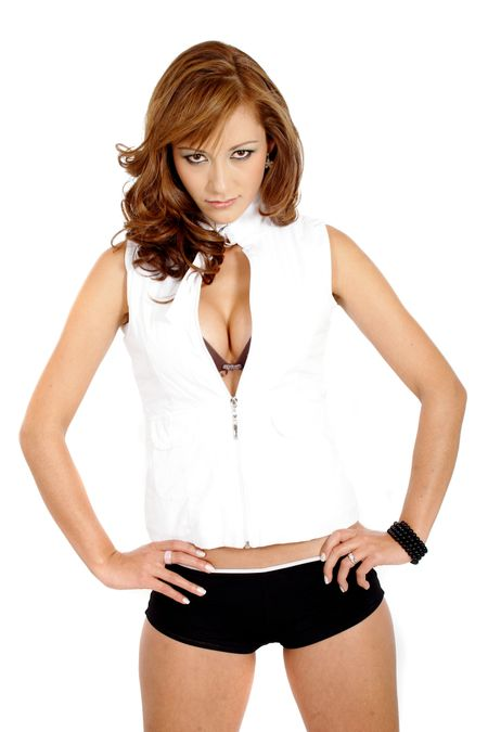 fashion female portrait wearing a white jacket and black lingerie - isolated over a white background