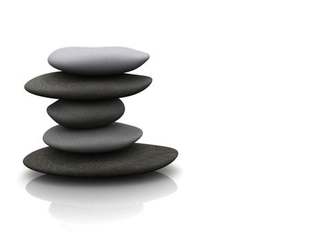 balancing stones over a white background with reflection