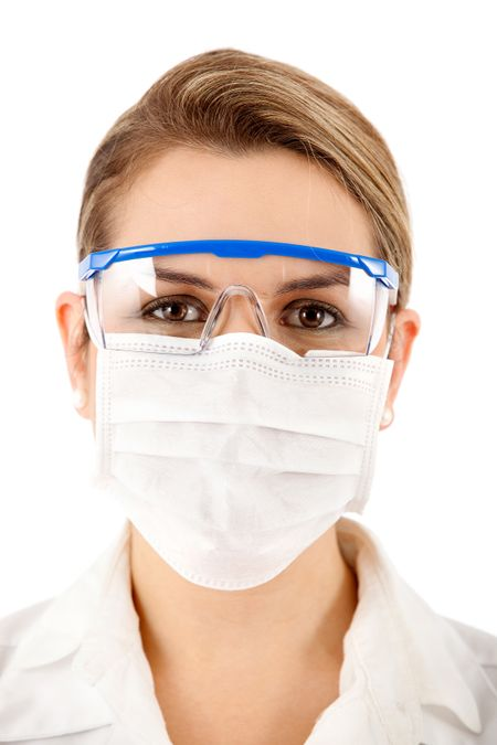 Female chemist using glasses and face mask - isolated over a white background