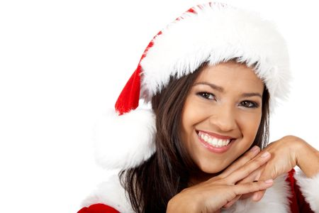 beautiful friendly girl as santa portrait smiling - isolated over a white background